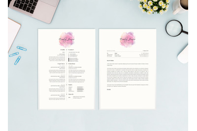 Water Color Resume Template - CV/Cover Letter