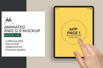 Animated iPad 12.9 Hand Swipe Mockup
