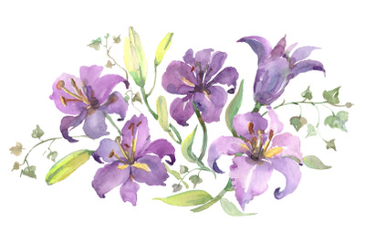 Bouquet with purple lilies Watercolor png