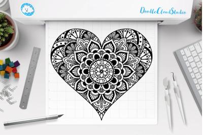 Heart Mandala SVG, Heart Zentangle SVG, Heart SVG Files,