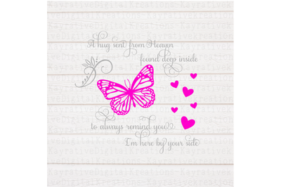 Butterfly Memorial SVG - Memorial SVG - A hug from Heaven SVG