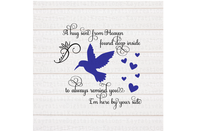 Hummingbird Memorial SVG - A hug sent from heaven svg - memorial svg