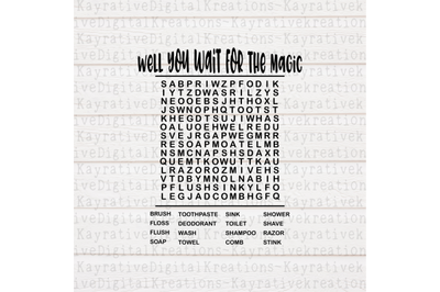 While you wait for the magic SVG - Bathroom Word Search SVG