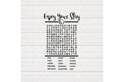 Enjoy Your Stay Bathroom Word search svg - word search SVG