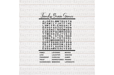 Family Word Search SVG - Word Search svg