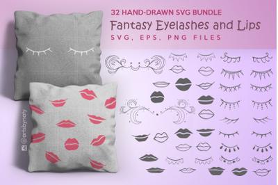 32 Hand-drawn SVG bundle Fantasy Eyelashes and Lips.