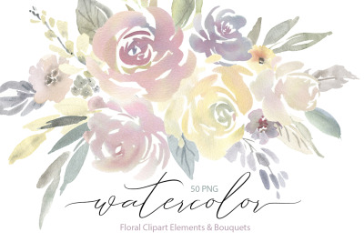 Watercolor Light Flowers Bouquets Roses Peonies