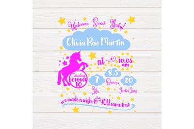 Unicorn Baby Girl Birth Stat SVG - Baby Birth stat SVG