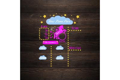 Unicorn Milestone Board SVG - Baby Milestone Board