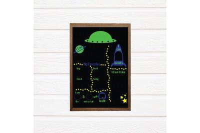 Space Milestone Chalkboard Board SVG - Baby Milestone SVG