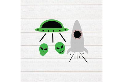 Space Aliens and Rockets SVG