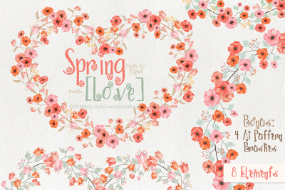 Spring Love 01 - Peach and Mint - Wreaths and Ai Brushes