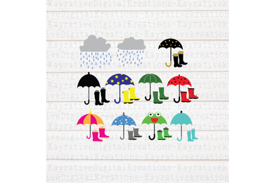 Rain Boots & Umbrellas Bundle