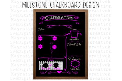 Baby Milestone ChalkBoard SVG - Baby Girl Milestone SVG