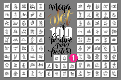 Set of 100 hand lettering quotes