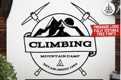 Mountain Camp Logo, Vintage Premade Climbing Badge SVG Cuts