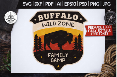 Wild Animals Badge / Vintage Camp Logo Patch SVG. Buffalo