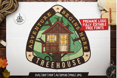 Tree House Badge / Vintage Outdoor Adventure Logo Patch SVG