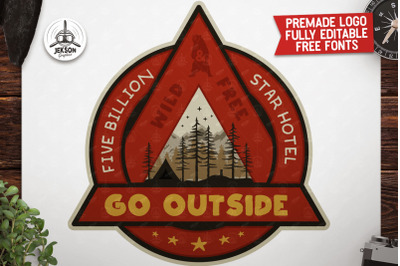 Outdoor Adventure Badge / Vintage Camp Logo Patch SVG. Wild & Free
