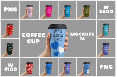 Coffee Cup Holding Mockups - 14   PNG