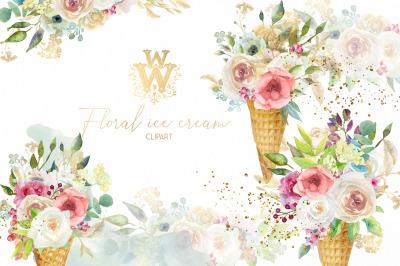 Watercolor floral Ice cream clip art, wedding clipart, birthday