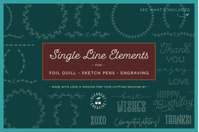 Single Line | Foil Quill | Sketch | Engrave SVG design file bundle