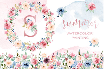 Watercolor flowers set Summer and alphabet for monogram.