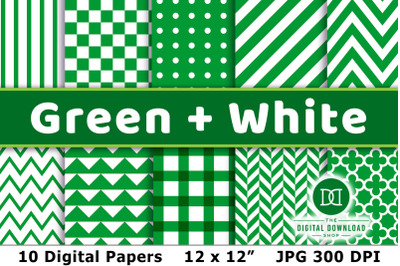 Green and White Digital Papers, Green Digital Papers, Green Background