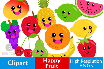 Happy Fruit Clipart, Cute Fruit Graphics, Kawaii Food, Healthy Food