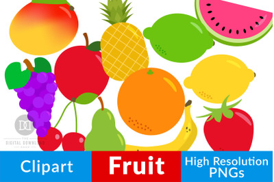 Fruit Clipart, Fruit Graphics, Healthy Foods Clipart, Pineapple, Lemon
