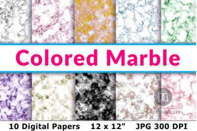 Marble Digital Papers, Colored Marble Patterns, Marble Scrapbook Paper