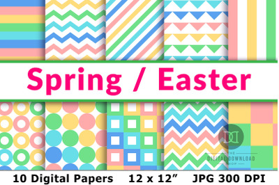 Spring Digital Papers, Easter Digital Papers, Spring Patterns