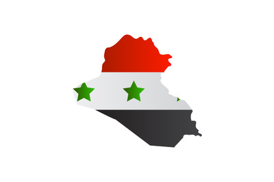 Iraq map with flag