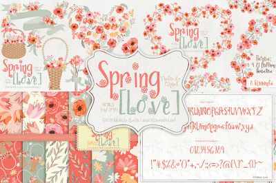 Spring Love 01 - Peach and Mint - Graphics and Font BUNDLE