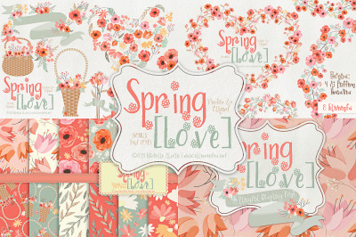 Spring Love 01 - Peach and Mint - Graphics and Font Pack