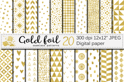 Gold foil seamless geometric patterns / Gold foil digital paper