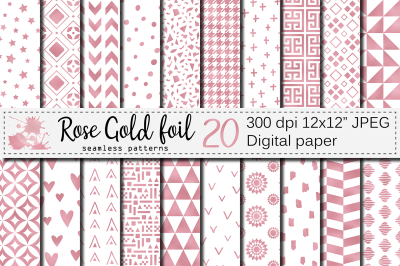 Rose gold foil seamless geometric patterns / Rose gold digital papers