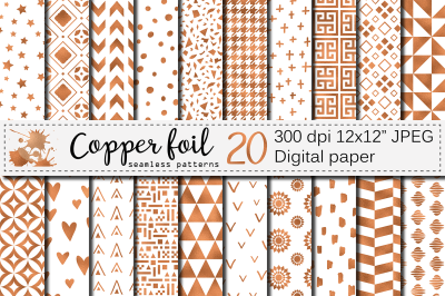 Copper foil seamless geometric patterns / Bronze foil digital papers