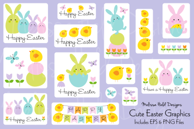 Cute Easter Bunny & Chick Graphics