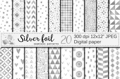 Silver foil seamless geometric patterns / Silver digital papers