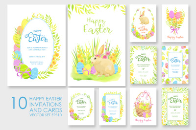 Happy Easter invitations and cards vector set