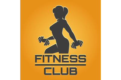 Fitness Emblem on Yellow Background
