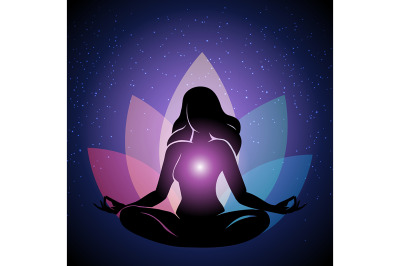 Silhouette of Woman in yoga lotus Pose