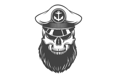 Skull with Beard in Sailor Hat