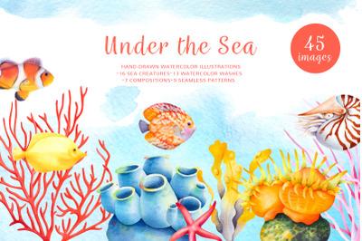 Coral reef watercolor clip art