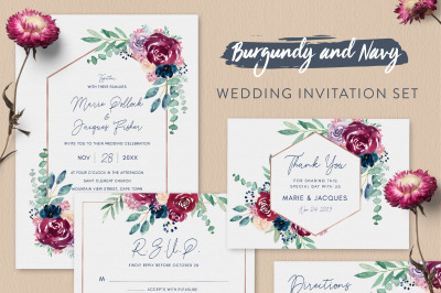Burgundy and Navy Wedding Invitation Suite