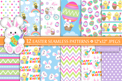 Easter Bunny Digital Paper Patterns -P38