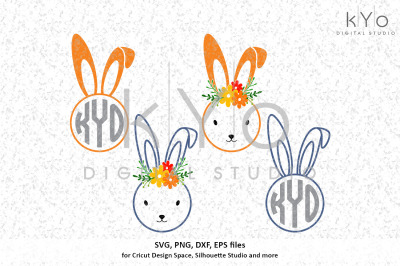 Easter Bunny Circle Monogram frame svg files