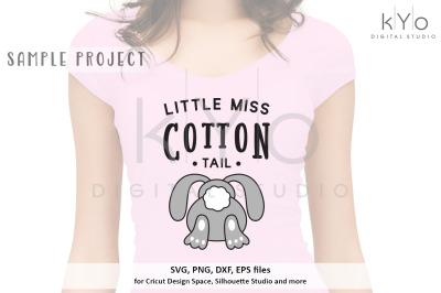 Little Miss Cotton Tail Easter quote svg png dxf files for Cricut