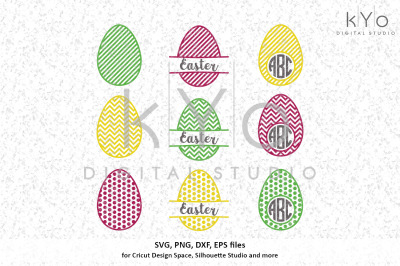 Patterned Easter Egg Monogram designs svg files